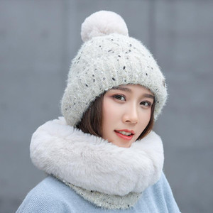 Hot Sale-2020 New Year Balaclava Winter Women's Hats Sweet lovely Snowflake Dots Knitted Hat Scarf Set Thick Warm Skullies Beanies Cap