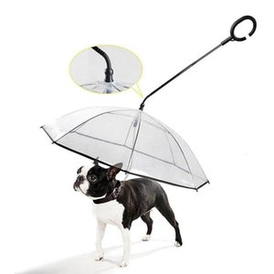 New transparent C-type umbrella PET products adjustable dog walking traction rope in rainy days