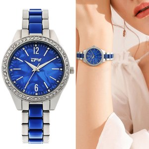 Heart of The Ocean Quartz Watch Women Fashion Blue Sapphire Stainless Strap Rhinestone Wristwatch Ladies Gift Waterproof 201204