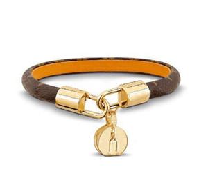 Joyería de moda Love Lock V Pulseras Brazaletes Pulseiras Pulseras de cuero real para mujeres / Hombres Alta calidad