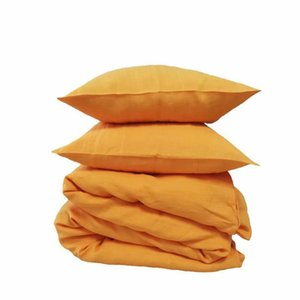 Free Shipping 3Pcs Linen Duvet Cover Sets One Cover + Two Pillow Cases 4 Colors Orange Dark Grey Pink Brown available