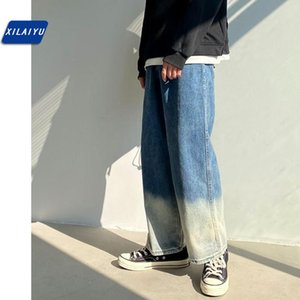 XILAIYU 2020 Gradient han edition tide loose jeans man wind straight slacks kuo nine minutes of pants legs