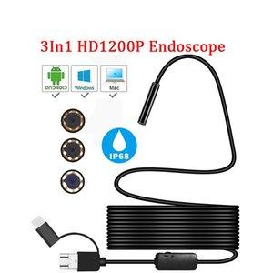 1200 P Tip-C Android Mikro / USB Yarı Sert Tüp Yılan Borescope Muayene Kameraları 8mm Len 1/2 / 5 M Android PC için