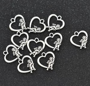 100Pcs lot Antique Silver Plated Angel Wings Cupid Love Heart Charms Pendant Bracelets Necklace Jewelry Making Craft DIY 20x18mm