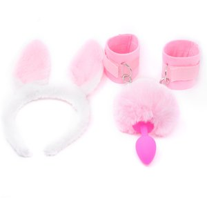 FX Silicone Anal Tail Fluffy Hand Cuffs Pink Rabbit Ear Bunny Girl Cosplay Sex Accessaries Short Butt Plug Tails BDSM Handcuffs Y201118