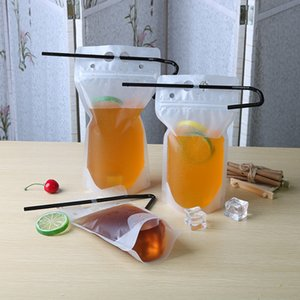 Clear Drink Pouches Bags frosted Zipper Stand-up Plastic Drinking Bag With Straw Holder Reclosable Heat-Proof Juice Coffee Liquid DHA2253