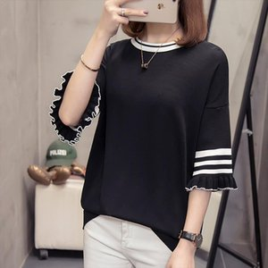 Large size womens 2020 Spring and autumn Short sleeve knitting sweater Temperament ladies half butterfly sleeve pullover tops