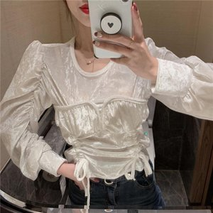 Fast Delivery Large Stock Long Sleeve Leaky Shoulder White Bandage Spring Loose Top Women Clothes