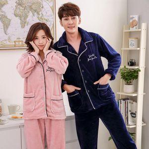 Thicken Coral Fleece 2PCS Sleep Set Couple Pajamas Set Winter Warm Flannel Nightwear Sleepwear Casual Soft Female Home Clothes