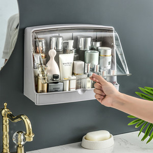 Wall-mounted Cosmetic Storage Box Makeup Organizer Bathroom Accessories Kitchen Racks with Lid Waterproof Space-saving Paste Z1123