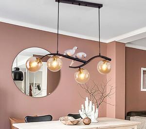 Nordic Kısa Cam Topu Kolye Işık Loft Yemek Odası Işıkları Için LuminAire Lampara Postmodern Yatak Odası Restoran Şube Lambası