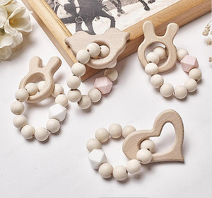 12Styles Baby Nursing Bracelets Wooden Teether Silicone Beads Teething Wood Rattles Toys Cartoon Animal Teether Bracelets Nursing Toys