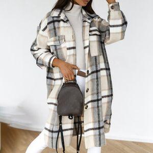 Puimentiua 빈티지 여성 긴 소매 모직 코트 패션 숙 녀 두꺼운 격자 무늬 코트 여성 streetwear 여자 대형 재킷 세련