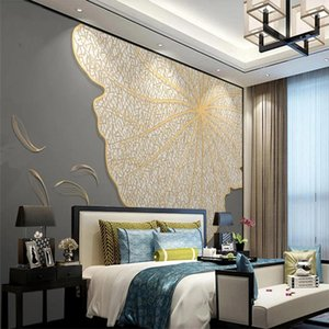 New Chinese style 3d stereoscopic wallpaper lotus leaf abstract fish light luxury golden embossed line background wall