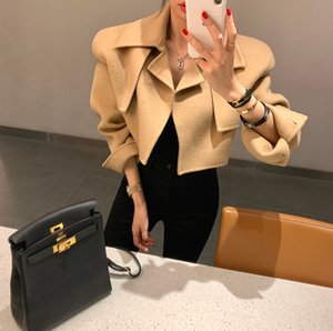 2020 neue design frauen koreanische mode kamel farbe down collar langarm kurze hohe taille woolen jacke mantel casacos