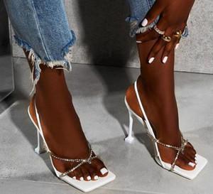 Мода Rhinestone Кристалл сандалии лета женщин площади носком шпильках Высокие каблуки Sexy Fetish Stripper Обувь Женский
