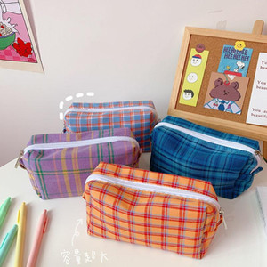 Large Capacity Pencil Case Cute Color Grid Canvas Pencil Bag For Kids Gifts Stationery Kawaii Pouch Back TO School
