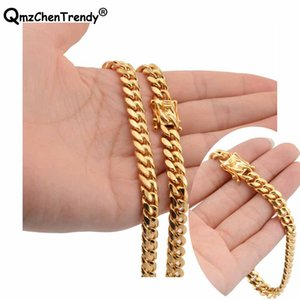 10 mm Hiphop Cowboy Miami Cuban Chain Curb Link Colliers Bracelet en acier inoxydable d'or Hip hop Men Lien Collier de jeu de bijoux