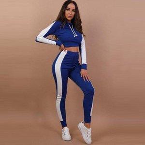 Fitness Hoodie Sweatshirt Two Pieces Set Tracksuit Long Sleeve Crop Top Elastic Skinny Leggings Sportswear Warm Autumn Female