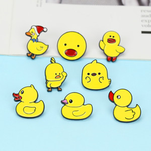 Cartoon Cute Yellow Ducks Brooch Pins Set Funny Animal Quack Quack Alloy Paint Brooches for Children Jewelry Gift Badge Shirt Pin