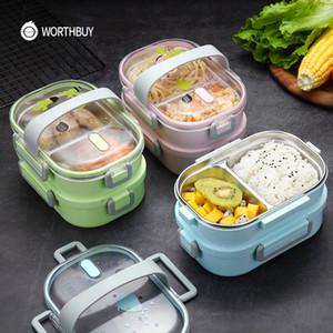 WorthBuy japonés Dibujos animados Almuerzo 304 Acero inoxidable Bento Becgo para niños Recipiente de almacenamiento de alimentos A prueba de fugas Bento Blind Box Z1123