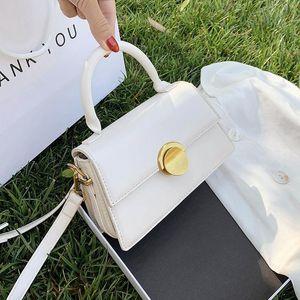 캐주얼 솔리드 컬러 탑 핸들 여성 핸드백 패션 숄더 디자인 잠금 크로스 바디 가방 여성 2020 레이디 핸드백 Q1206