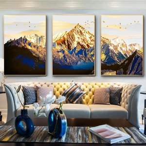 Fotos modulares Póster Wall Art 3 Pieces Golden Snow Mountain Abstract Canvas Decoración de Hogar Landsap Pintura Pintura Sala de estar