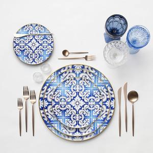 Pratos de casamento de cerâmica ocidental Modern osso China placa de jantar de ouro de ouro