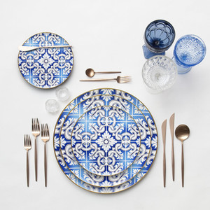 Os ósseos modernos China jantar de jantar de ouro borda de mesa conjunto de mesa de casamento de cerâmica ocidental ou conjunto de placa de jantar