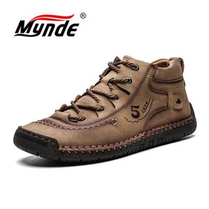 MyNDE New Hombres con piel Mantenga cálido Snow Hombres Zapatos Calzado Moda Masculino Invierno Cuero Botas Tamaño 39-48 201128
