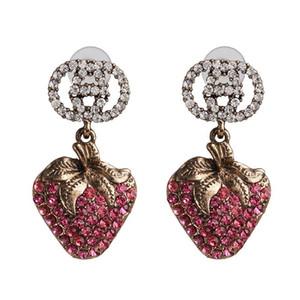Nouveau mode strass rose couleur rose élégant et à la mode Fruits à la mode Tendance eau boucles d'oreilles Boucles d'oreilles pour femmes 2020