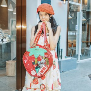 Sweet Strawberry Double -side bag backpack clear Transparent student Lolita Backpack ita Lady Shoulder Bags 201125