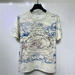 Spring Summer around the world map landscape signature graffiti Tee Men Women t shirt Short Sleeve Street Cotton Tshirt