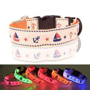 Pet Dog Collar Luminous LED Dog Collars Necklace Rhombus Flashing Light Adjustable Night Safety Nylon Dogs Collar Pet supplies