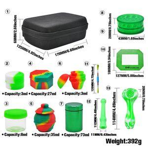 12pcs Set di fumo Grinder Storage Jar Kit tubo del tubo di lavaggio in silicone Posacenere Sigaretta Machine Black Bag Zipper multi colore G2