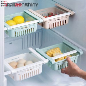 BalleenShiny PP Kitchen Fridge Storage Rack Organizer Drawer Retractable Partition Shelf Layered Fruit Egg Vegetable Storage Box