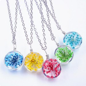 Dried Flower Eternal Flower Necklace Glass Cover Time Gem Pendant DMFN307 (with chain) mix order Pendant Necklaces
