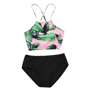Top Band Printed Bikini Swimsuit Women Swimwear High Neck Bikini Set Beachwear Bathing Suit Push Up Padded Bodysuits Y1120