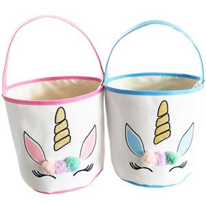 Ostern Glitter Unicorn Basket Bunny Taschen mit Plüsch Pom Pom Cartoon Leinwand Einkaufstasche Kinder Ei Süßigkeiten Handtasche Barrel Eimer Körbe E120904