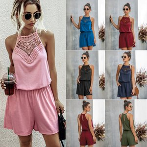 Popular Fashion Lace Lace Cutout Halter Sleeveless Backless Sexy Womens Jumpsuit 600236