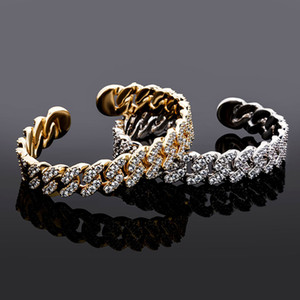 Hip Hop Micro Paved CZ Stone Bling Iced Out Cuban Chain Open Cuff Bangle Bracelet for Men Rapper Jewelry