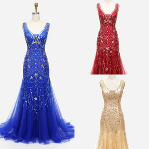 Champagne Red Blue Evening Formal Dresses Women Luxurious Beading Crystal Pluning V-neck Lace-up Memraid Prom Pageant Dress For Party Tulle