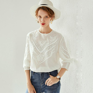 100% Silk Blouse Women Pullover Shirt Vintage Embroidery Elegant Simple Design O Neck Long Sleeves Graceful Style New Fashion