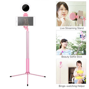 1.2-Meter Live Streaming Selfie-Portrait Stand Kit with Aluminum Alloy Selfie Stick Integrated Phone Holder Fill Light + Tripod