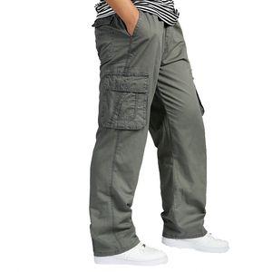 Men Cargo Pants Summer Overall Baggy Army Green Pant Workman Tactical Loose Trousers Men's Long Pants Plus Size XXXL 4XL 5XL 6XL Y1114