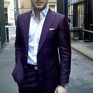 2020 Dark Purple Casual Business Men Suits Slim Fit 2 Pieces Formal Party Tuxedos Custom Made Terno Masculino suit(Jacket+Pants)