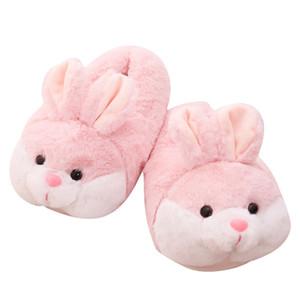 Women's Cute Animal Rabbit Indoor Home shoes Non slip Flat Winter Warm Cotton slipper Soft Plush Fur Slippers Flip Flop Q1124