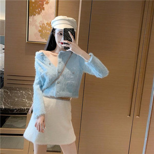 2021 Fall Winter Knitted Women Two-piece Set Sweater Solid Cardigan+Sexy Short Tweed Elegant Skirts Female New Fashion Suit Z59