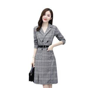 Retro plaid suit dress new design sense OL professional step skirt Mini Dress A1111