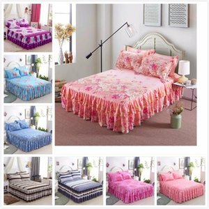 Floral Pattern Bed Skirt Kid Princess Adult Bedskirt Single Twin Full Queen King Size Bed Cover Linen Bedspreads 150x200 180x200